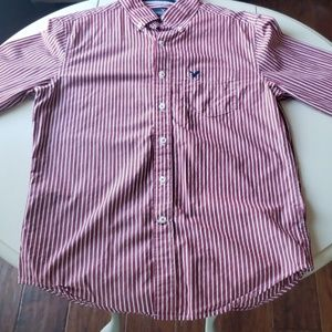 Red button-down shirt